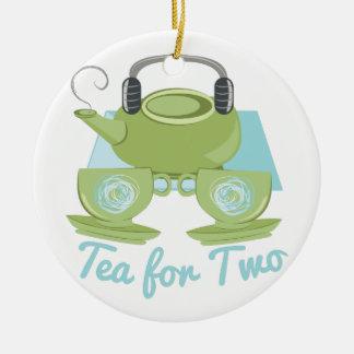 Tee für zwei rundes keramik ornament