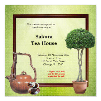 Tee-Haus-festliche Eröffnung Quadratische 13,3 Cm Einladungskarte