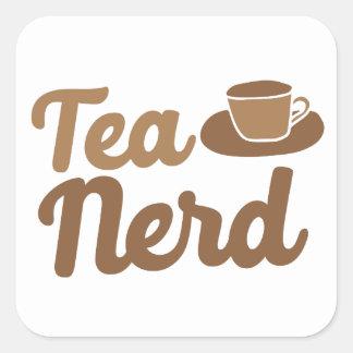 Tee-Nerd mit Schale Quadratischer Aufkleber