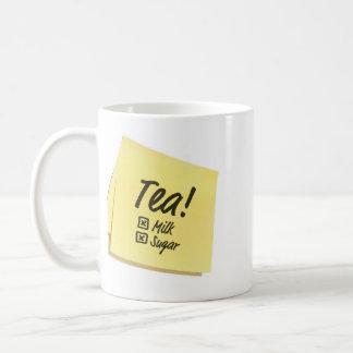 Tee ohne Milch-u. ZuckerErinnerungs-Tasse/Post-It Tasse