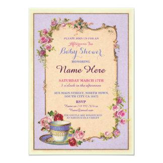 Tee-Party-Baby-Duschen-Gartenteacup-Einladung 12,7 X 17,8 Cm Einladungskarte