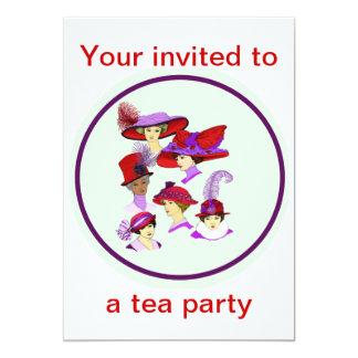 Tee-Party Einladung, Damen, die rote Hüte tragen Karte