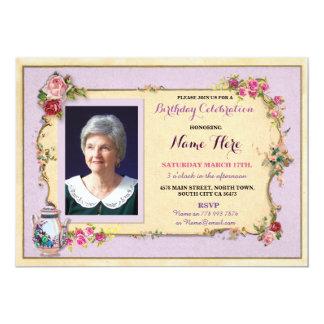 Tee-Party-Geburtstags-Garten-Teekanne-Foto-Rose 12,7 X 17,8 Cm Einladungskarte