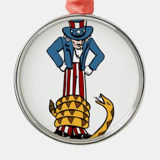 Tee-Party-Klapperschlangen-Uncle Sam Rundes Silberfarbenes Ornament