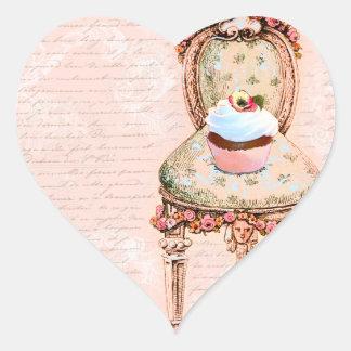 Tee-Party-Kuchen-französischer viktorianischer Herz-Aufkleber