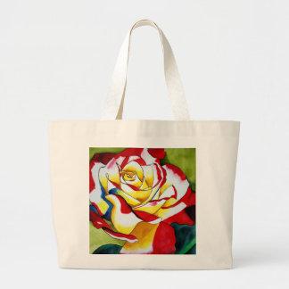 Tee-Rose ursprüngliche Watercolor-Blumenkunst Jumbo Stoffbeutel