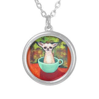 Tee-Schalen-Chihuahua-Halskette Versilberte Kette