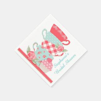 Tee-Schalen und Rosen Papierserviette
