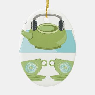 Tee-Topf Ovales Keramik Ornament