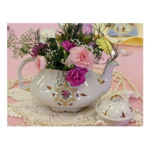 Tee-Topf, rosa Gartennelken Postkarte