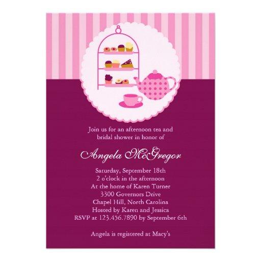 Tee-Topf und Gebäck-Brautparty-Einladung