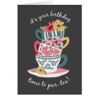 Tee-Zeit-Geburtstags-Gruß-Karte Karte