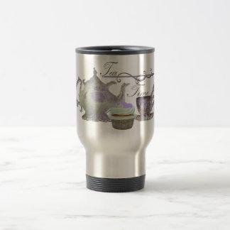 Tee-Zeit! Lila Teekanne-, Teacup-und Kuchen-Kunst Reisebecher