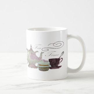 Tee-Zeit-Rosa-Kuchen-Herz-Kunst Kaffeetasse