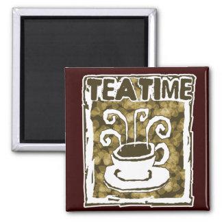 Tee-Zeit-Schale mit Dampf Quadratischer Magnet