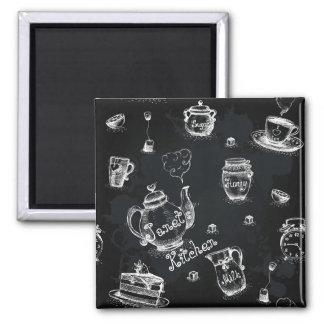 Tee-Zeit-Schwarzes Quadratischer Magnet