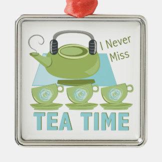 Tee-Zeit Silbernes Ornament