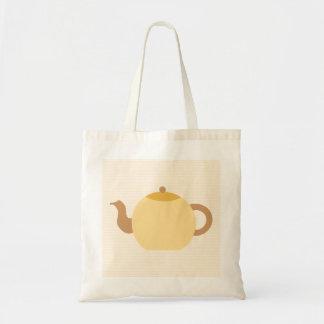Teekanne-Bild in den neutralen Farben Leinentasche