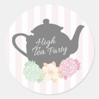 Teekanne-hoher Tee-Aufkleber Runder Aufkleber