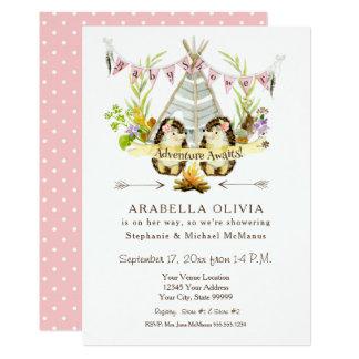 Teepee-Igel des Mädchen-Baby-Duschen-WaldlandBOHO 12,7 X 17,8 Cm Einladungskarte