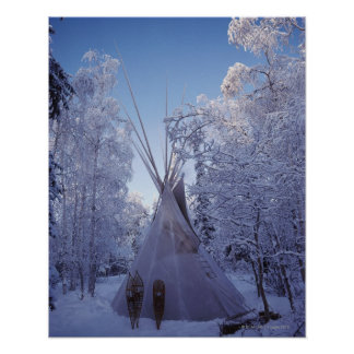 Teepee im Winter Poster