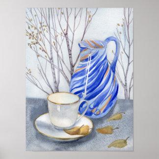 Teeschale u. blaues Glas im Oktober Poster