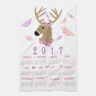 Teetuch mit 2017 Rotwild und Schmetterlings Handtuch