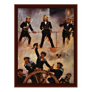 Tegetthoff Admiral am Kampf von Lissa Postkarte