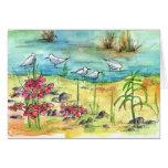 Teich-Vogel-leere Anmerkungs-Karten-Aquarell-Natur