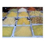Teigwaren, Getreide, Korb, italienische Nahrung, M Postkarte
