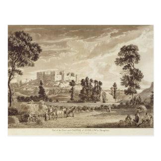 Teil der Stadt und des Schlosses von Ludlow in Postkarte