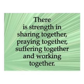 Teilen, Beten und zusammenarbeiten Postkarte