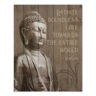 Teilen Sie das Liebe-buddhistische hölzerne Poster