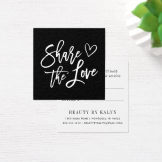 Teilen Sie die Schwarzweiss-Empfehlung der Liebe-| Quadratische Visitenkarte