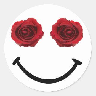 Teilen Sie einen Lächeln-Rosen-Aufkleber Runder Aufkleber