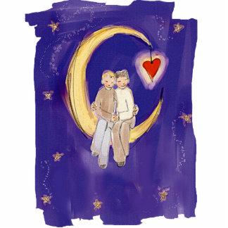 Teilen Sie unsere Freude-Bräutigame auf Mond Fotoskulptur Ornament