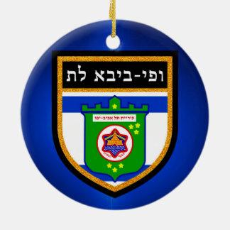 Tel Aviv-Flagge Rundes Keramik Ornament