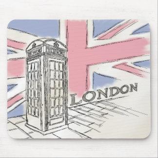 Telefon-Kasten-Skizze-Mausunterlage Londons rote Mauspad