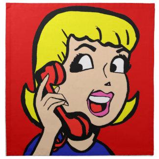 Telefon-Mädchen-Comic-Streifen-Stoff-Serviette Stoffserviette
