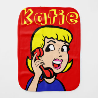 Telefon-Mädchen-Comic-Streifenburp-Stoff Baby Spucktuch