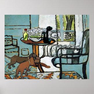 Telefon-Tabelle und Dackeln Matisse Art Poster
