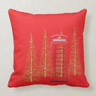 Telefonzelle-Goldbaum-Wurfs-Kissen Londons rotes Kissen
