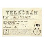 Telegramm mit Herz-Vintager Reise Save the Date Ankündigungskarte