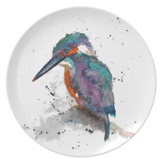 Teller mit handgemaltem Eisvogel
