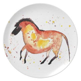 Teller mit handgemaltem Pferd