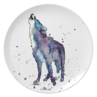 Teller mit handgemaltem Wolf
