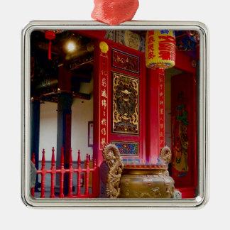 Tempel in Yilan, Taiwan Quadratisches Silberfarbenes Ornament