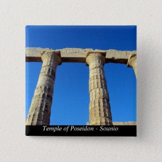 Tempel von Poseidon - Sounio Quadratischer Button 5,1 Cm