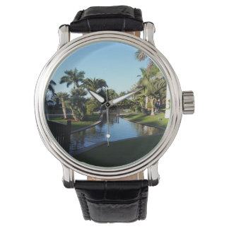 Teneriffa-Strom mit Palme-Leder-Uhr Armbanduhr