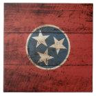 Tennessee-Staats-Flagge auf altem hölzernem Korn Fliese